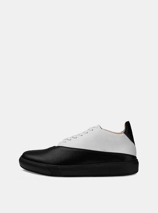Bielo-čierne kožené tenisky Vasky
