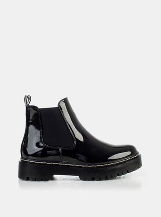 Černé dámské lesklé chelsea boty MUSK