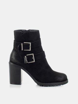 Černé dámské kotníkové boty na podpatku MUSK