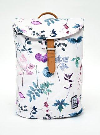 Biely dámsky kvetovaný batoh The Pack Society