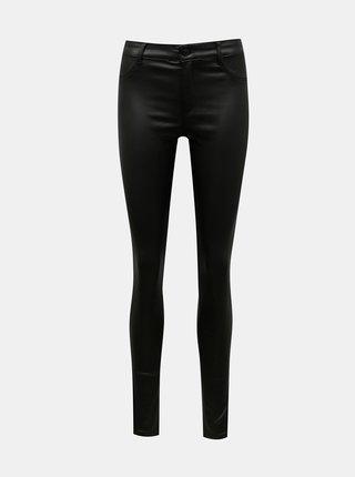 Černé koženkové skinny fit kalhoty Dorothy Perkins