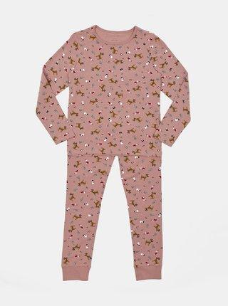 Růžové holčičí pyžamo s vánočním motivem name it