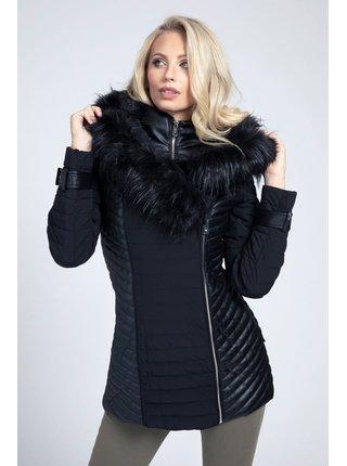 Guess čierne kabát Fake Fur Jacket