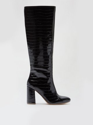 Čierne lesklé čižmy s hadím vzorom Dorothy Perkins