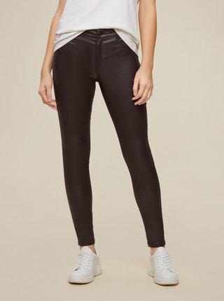 Tmavě hnědé koženkové skinny fit kalhoty Dorothy Perkins