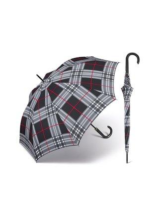 Happy Rain Long Checks Black holový károvaný deštník v šedé barvě - Šedá