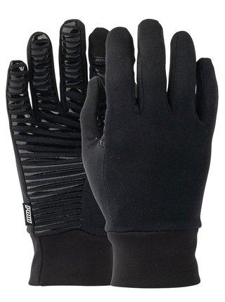 POW Poly Pro TT Liner black pánské zimní prstové rukavice - černá
