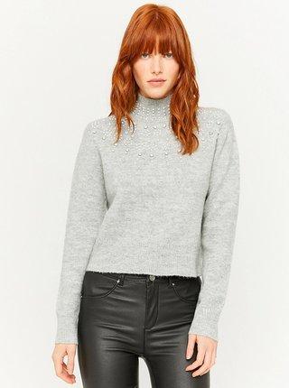 Šedý svetr s ozdobnými detaily TALLY WEiJL