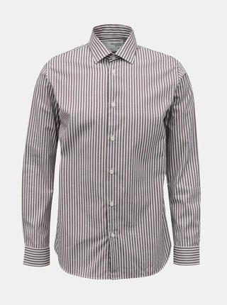 Hnědo-bílá pruhovaná košile Selected Homme
