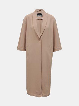 Béžový kabát Pieces Bertha
