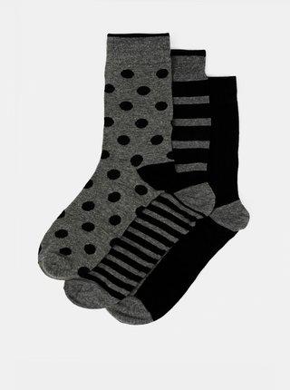 Sada tří párů černo-šedých ponožek Selected Homme