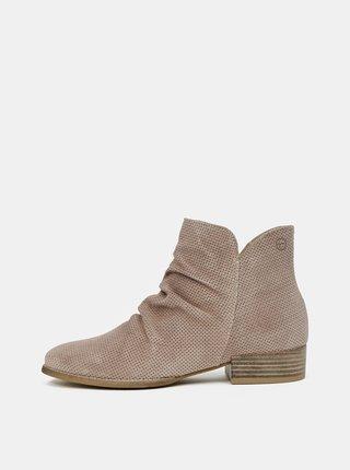 Svetlohnedé semišové členkové topánky Tamaris