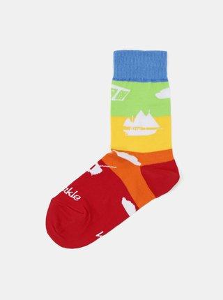 Modro-červené dětské ponožky Fusakle ČT Déčko
