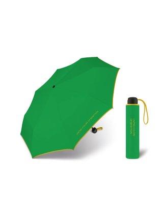 United Colors of Benetton Super Mini Green - zelený deštník se žlutým lemem - Zelená