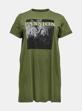 Zelené dlouhé tričko s potiskem ONLY CARMAKOMA Simply