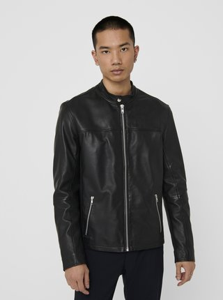 Černá kožená bunda ONLY & SONS Dean
