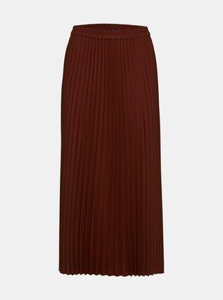 Hnědá plisovaná midi sukně Selected Femme Alexis