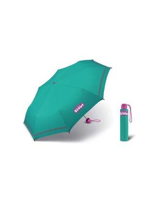 Scout BASIC GREEN skládací deštník s reflexním proužkem - Zelená