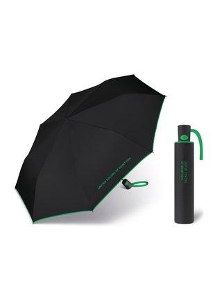 United Colors of Benetton Mini AC Black - vystřelovací černý deštník se zeleným lemem - Černá