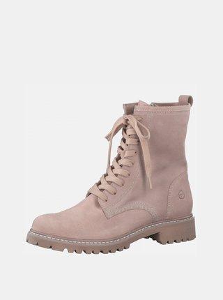 Ružové kožené členkové topánky Tamaris