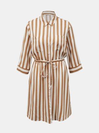 Béžové pruhované košilové šaty ONLY Tamari