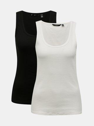 Sada dvou basic tílek v černé a bílé barvě VERO MODA Jessica