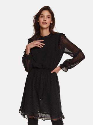 Černé puntíkované šaty s volány TOP SECRET