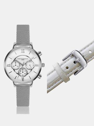 Dámske hodinky s vymeniteľným remienkom v striebornej a bielej farbe Annie Rosewood