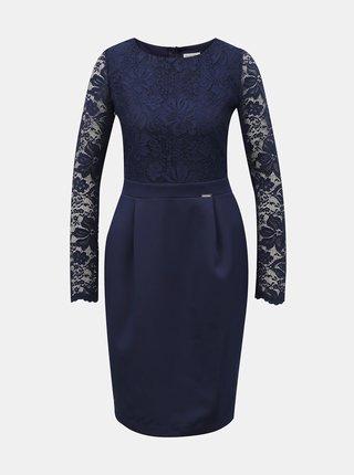 Tmavě modré pouzdrové šaty s krajkovým topem numoco
