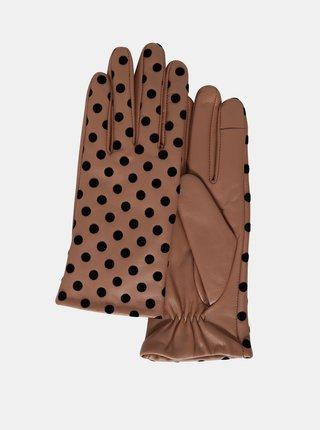 Ichi hnědé puntíkované rukavice A Fiona