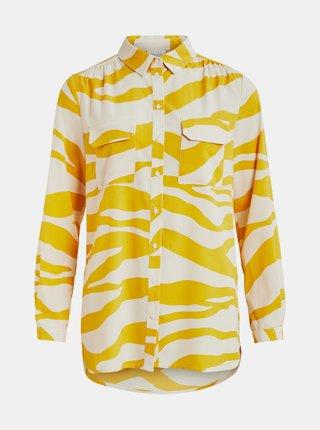 Krémovo-žlutá košile se zebřím vzorem VILA Omina
