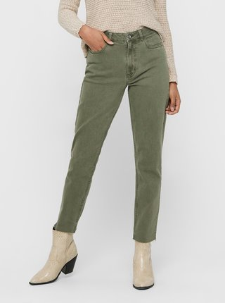 Zelené zkrácené straight fit džíny ONLY Emily