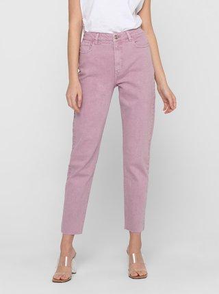 Růžové zkrácené straight fit džíny ONLY Emily