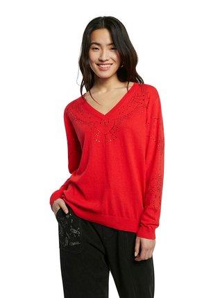 Desigual červené sveter Jers Gante