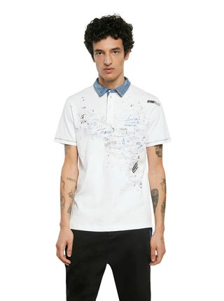 Desigual biele pánske tričko Polo Miguel
