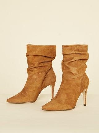 Hnedé semišové členkové topánky OJJU