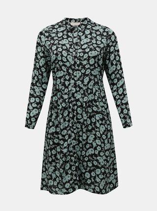 Modro-černé květované košilové šaty ONLY CARMAKOMA