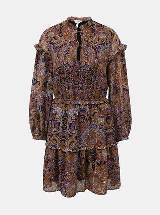 Fialovo-hnědé vzorované šaty s volány .OBJECT Marcin