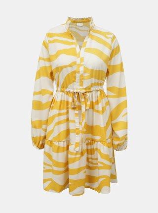 Krémovo-žluté šaty se zebřím vzorem VILA Omina
