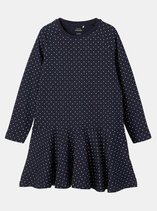 Tmavě modré holčičí puntíkované šaty name it Valentina