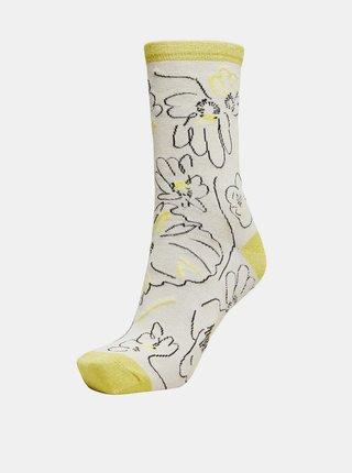 Žluto-krémové vzorované ponožky Selected Femme Vida