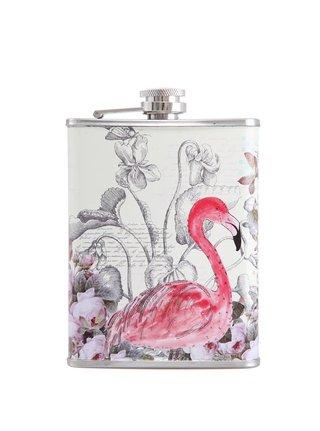 Sticla de buzunar din otel inoxidabil cu print flamingo - Disaster
