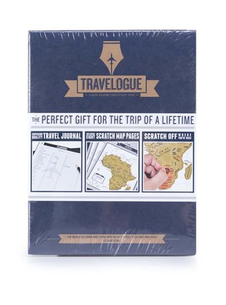Jurnal de calatorie cu harta scratch Luckies Travelogue - albastru