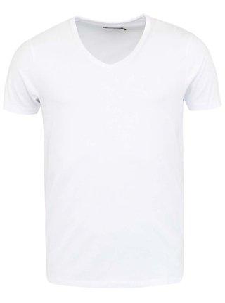 Biele tričko s véčkovým výstrihom Jack & Jones Basic