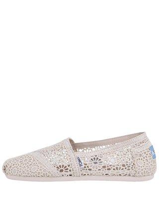 Pantofi slip on crem crosetat de dama TOMS