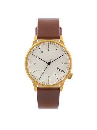 Unisex hodinky s hnědým koženým páskem Komono Winston Regal