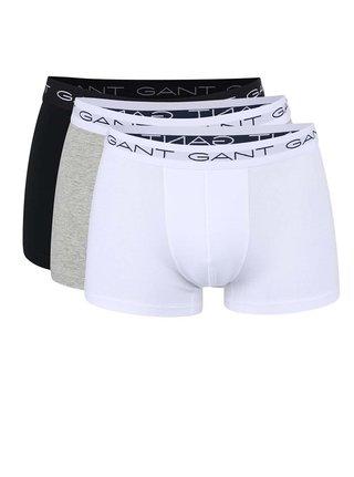 Sada tří boxerek v bílé, šedé a černé barvě GANT