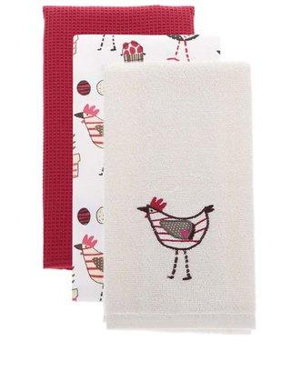Súprava troch utierok v krémovej a červenej farbe s motívom sliepočiek Cooksmart