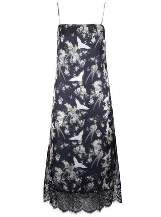 Čierne kvetinové šaty na ramienka Miss Selfridge