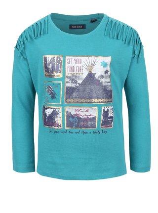Petrolejové holčičí tričko s potiskem a třásněmi Blue Seven